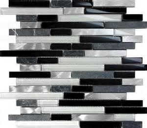 black glass backsplash tile sl black gray glass metal linear mosaic