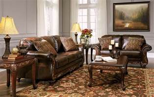 Wood And Leather Living Room Furniture Vanceton Brown Leather Traditional Wood Sofa Loveseat Living Room Set