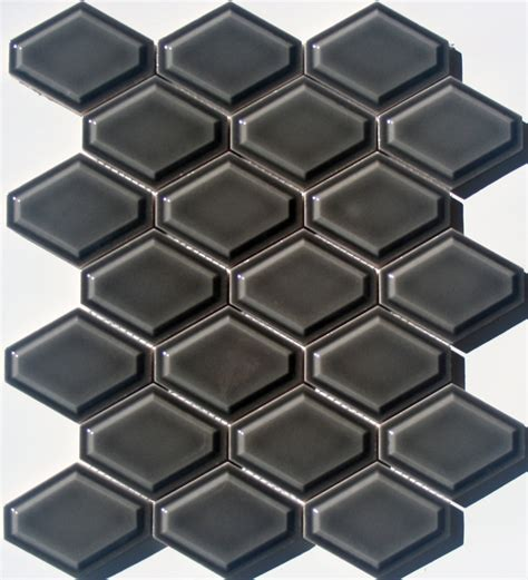 lyric lounge collection elongated hex tile convex in ferrous gray