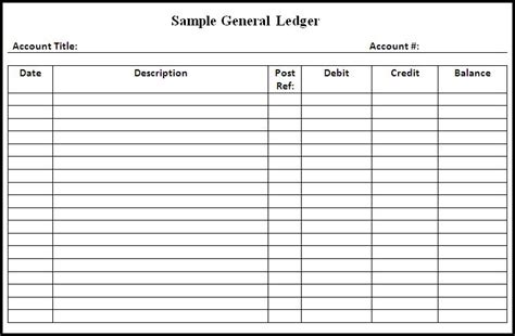 General Ledger Template Printable Newhairstylesformen2014 Com Basic Ledger Template