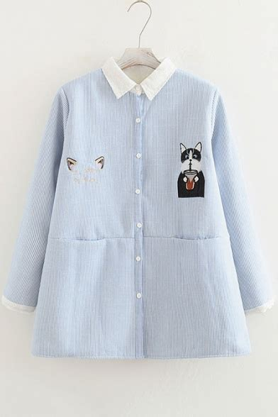 Cat Embroidered Striped Shirt cat embroidered striped lapel sleeve buttons