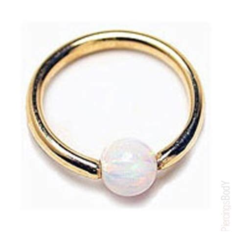 gold captive bead ring 14k gold captive ring with gorgeous opal bead 8 ga