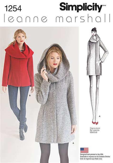 sewing patterns simplicity 1254 misses leanne marshall easy lined coat or jacket sewing pattern