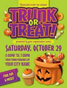 trunk or treat flyer template trunk or treat informational poster advertisement by