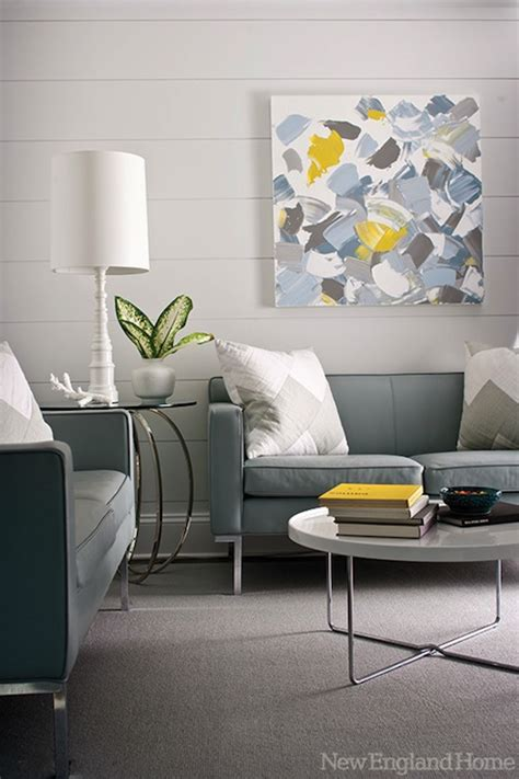 Grey And Yellow And Blue Living Room Gray And Blue Living Space Contemporary Living Room