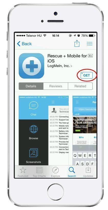 logmein rescue mobile starting a pin code session on an ios device