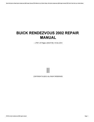how to download repair manuals 2002 buick rendezvous parking system buick rendezvous 2002 repair manual by mailfs108 issuu