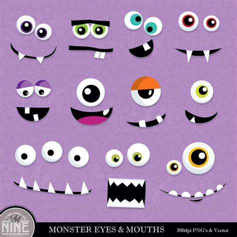 free printable monster eyes and mouth monster eyes mouths clip art digital clipart instant