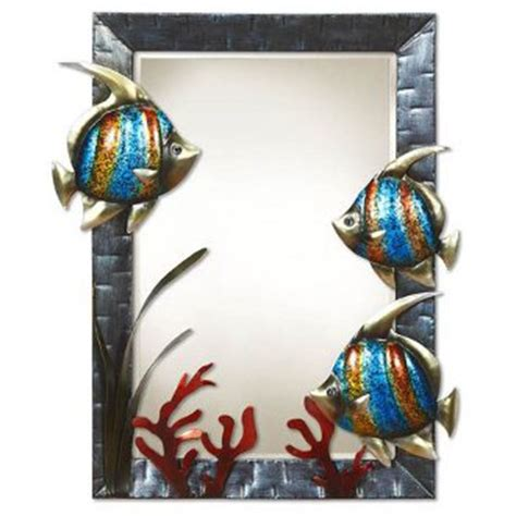 tropical bathroom mirrors large wall mirror fish