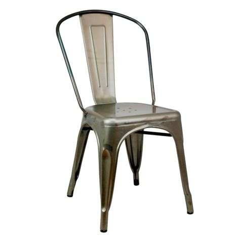 metal dining chairs industrial vintage tolix style galvanized metal steel industrial cafe dining chair la maison chic