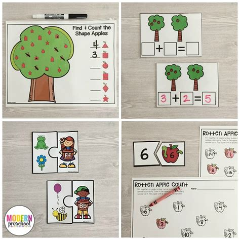 printables for kindergarten centers apples literacy math centers modern preschool