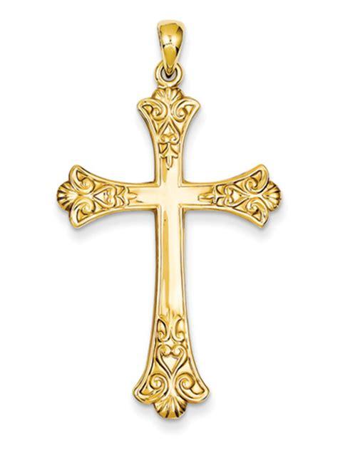 fleur de lis cross tattooimages biz fleur de lis cross pendant 14k yellow gold at lordsart