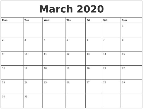 printable monthly calendar march march 2020 printable monthly calendar