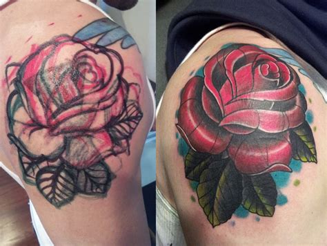 rose tattoo cover 16 and daffodil small