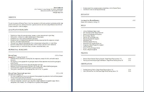 personal trainer resume free layout format