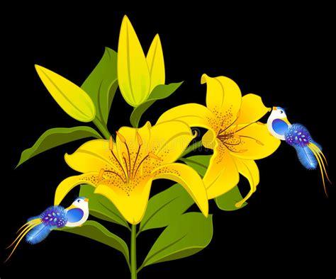 disegni sui fiori bei piccoli uccelli sui fiori illustrazione vettoriale