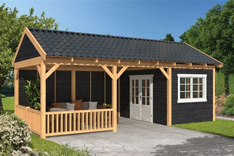 tuinhuis bouwpakket module apex roof larch garden buildings