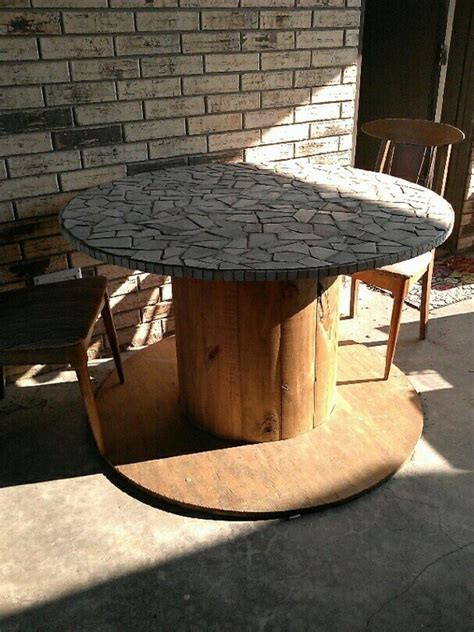 diy repurposed reel mosaic table  owner builder network
