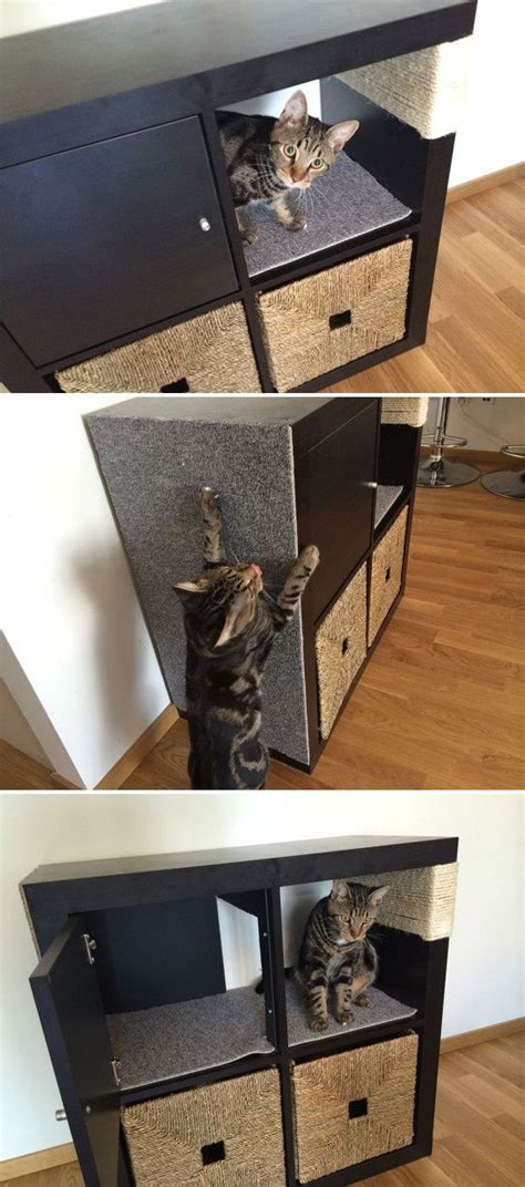 kallax cat scratching furniture modified cabinet from ikea s kallax line cats n things