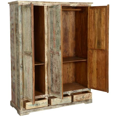 white washed reclaimed wood large wardrobe armoire cabinet