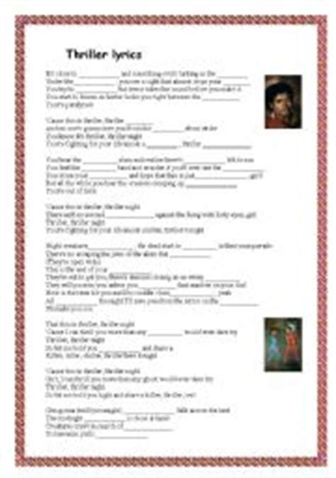 english worksheets michael jackson 180 s biography english worksheet thriller lyrics