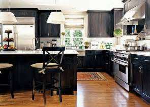 best black kitchen cabinets with white shade pendant