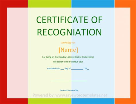 certificate of recognition save word templates