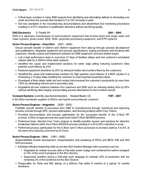 Semiconductor Process Engineer Sle Resume by Chinh Nguyen Resume