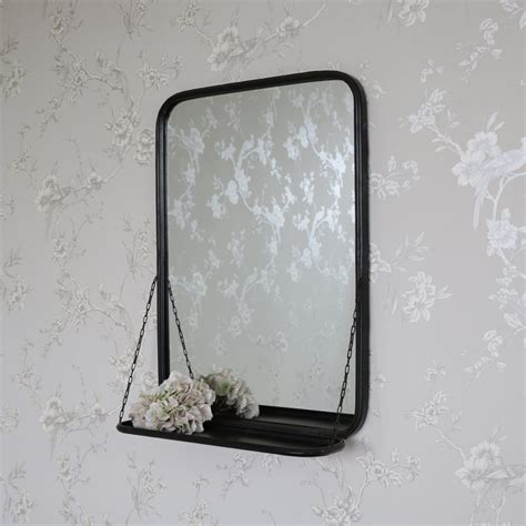 Black Metal Industrial Style Wall Mirror Shelf Bathroom Metal Bathroom Mirrors
