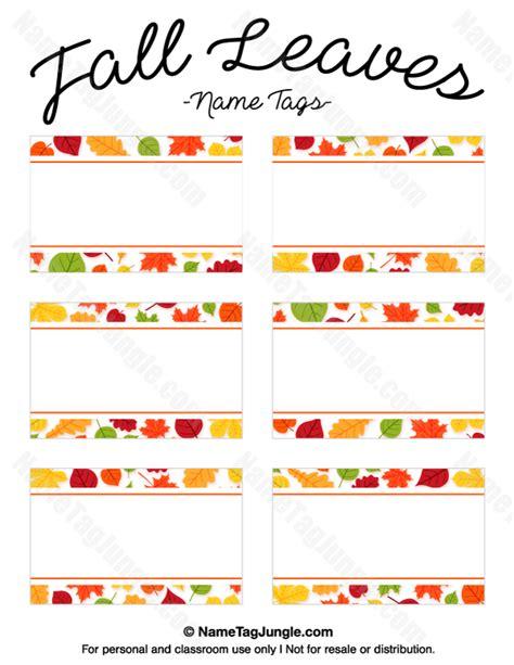 printable autumn name tags printable fall leaves name tags