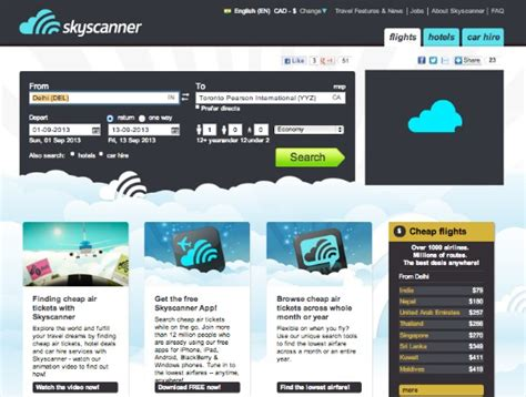 skyscanner mobile website comparing travel prices with skyscanner flights