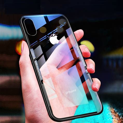 luxury clear  glass cover   iphone xs max xr