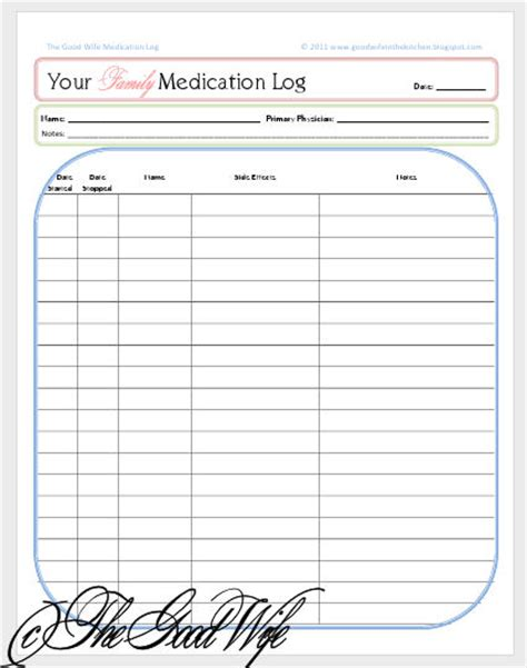7 best images of printable medication list for adult