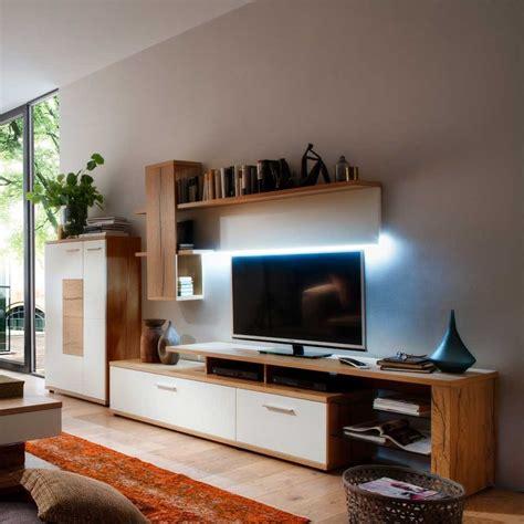 Wohnwand Modern Design by Design Wohnwand Emirossa In Wei 223 Mit Eiche Furniert