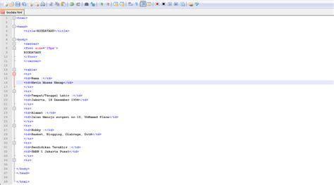 kode html membuat form biodata membuat biodata diri dengan html yenni meliyanni
