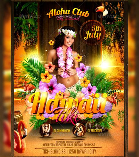 Hawaii Tiki Flyer Template By Lordfiren On Deviantart Free Hawaiian Luau Flyer Template