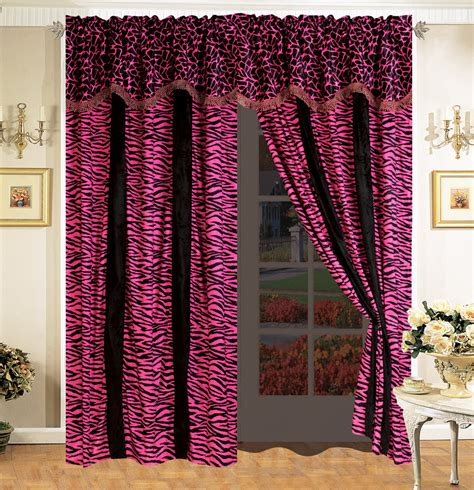 fur curtains 4 pc safari micro fur curtain set giraffe zebra black pink