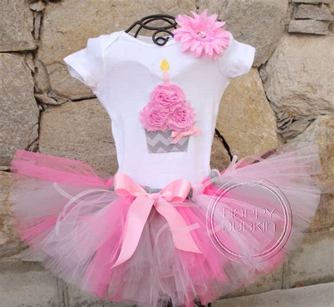 Set Pink Tutu by Pink Gray Chevron Set Birthday Cupcake Onesie And