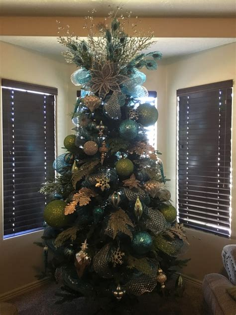 turquoise lime green and silver christmas tree decorated