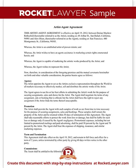 Artist Agent Agreement Form Artist Agency Agreement Sle Artist Booking Contract Template