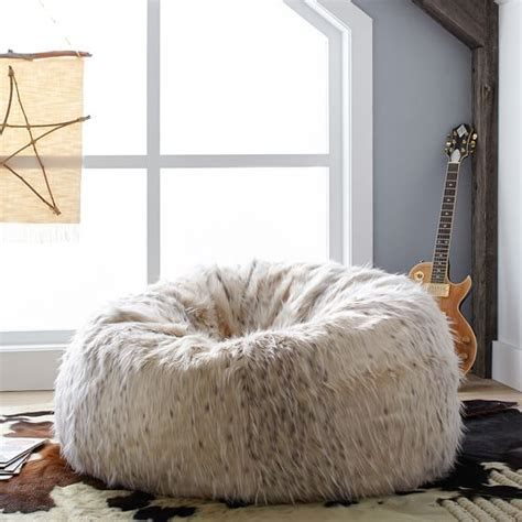 cat bean bag chair snow cat faux fur beanbag pbteen
