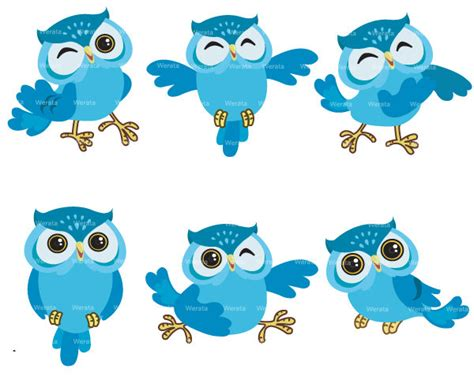 Piyama Owl Blue Piyama Owl blue owl clip digital clipart owl graphics owl