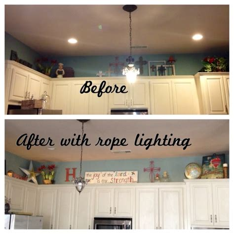 rope lights above cabinets in kitchen pin by kyla ehrisman on decorating