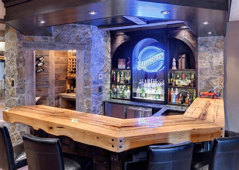 rustic bar top ideas rustic man cave bar ideas family room traditional with