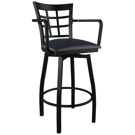 bar stools swivel with arms window back swivel bar stool with arms