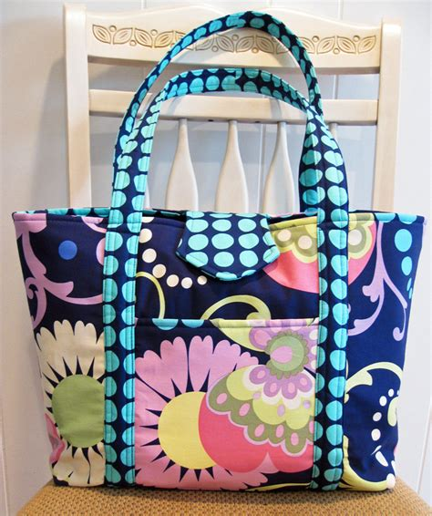 Handmade Tote Bags - large handmade fabric tote bag in navy greens pinks and