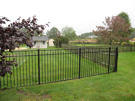 Metallzaun Lackieren by Style And Protection With Black Metal Fence Home Ideas
