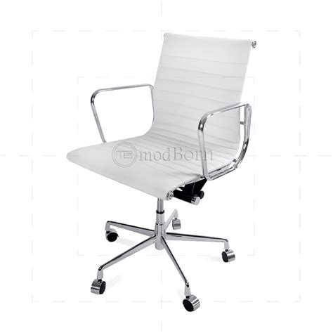 EA117 Eames Style Office Chair Low Back Ribbed White Leather Replica
