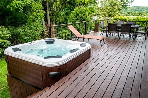 Portable Kitchen Island Designs bullfrog spa 462 hot tub with trex decking and cable rail