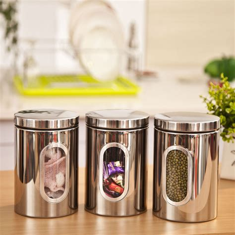 glass canister set for kitchen 1pc high quality stainless steel canister jar bottle box